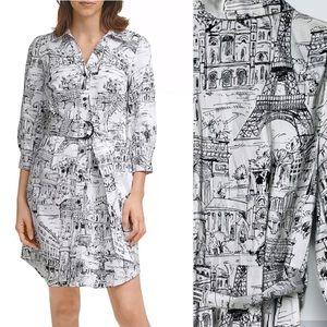 KARL LANGFORD Paris City Scape Print Shirt Dress